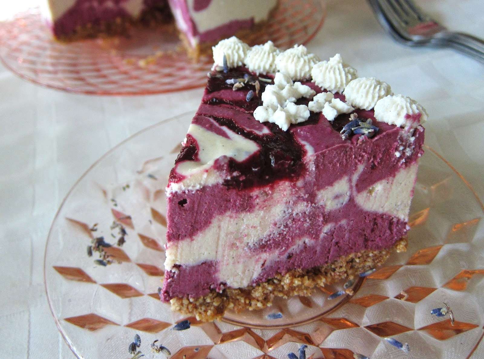 Fragrant Vanilla Raw Blackberry Lemon Lavender Cheesecake