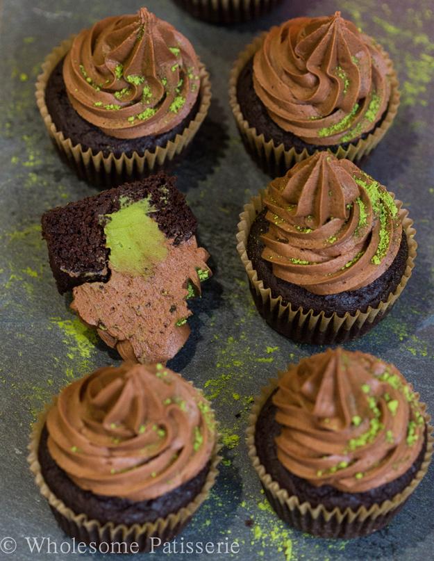 matcha chocolate cupcakes