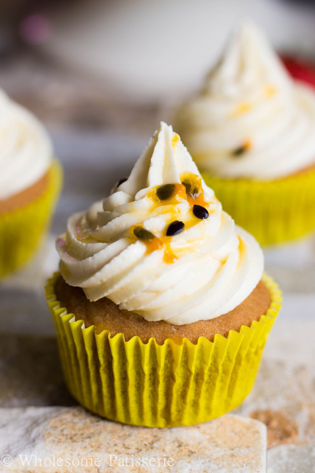 white chocolate passionfruit cupcakes