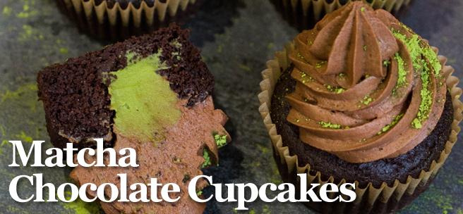 matcha chocolate cupcake