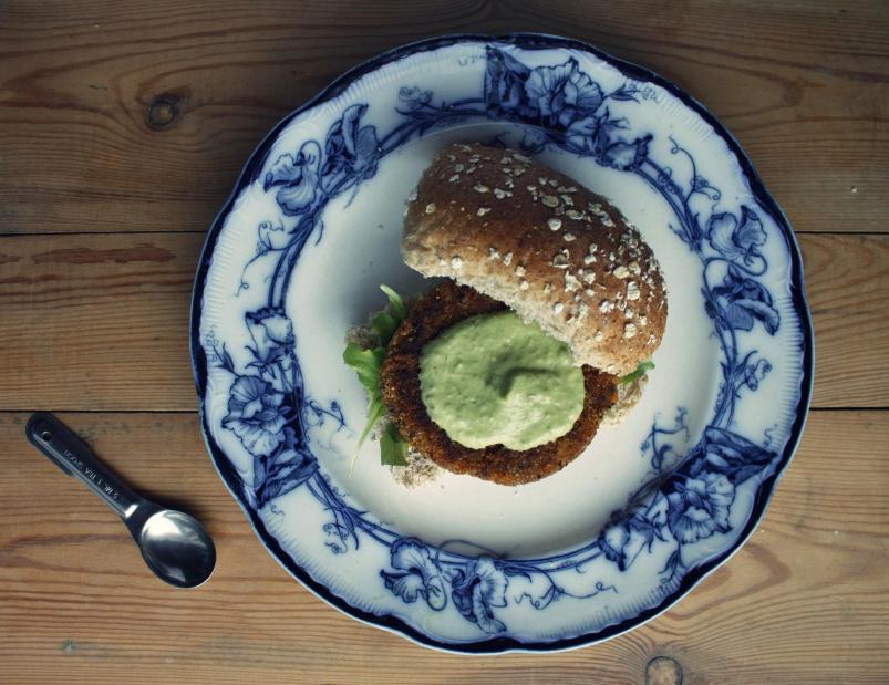 Spicy Vegan Quinoa Burgers with Avocado Aioli gluten free burger recipe