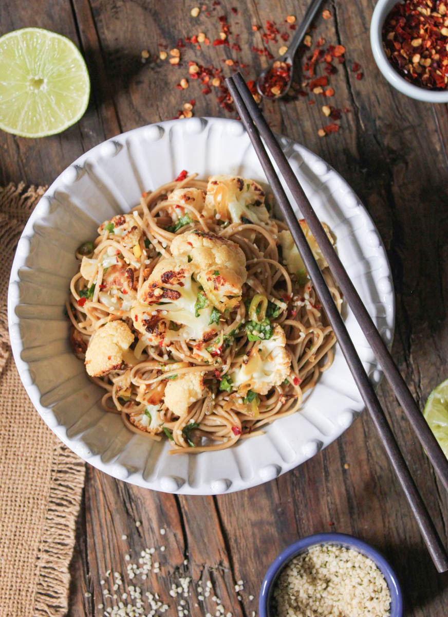 16 Ginger-Scallion Soba Noodles with Roasted Cauliflower