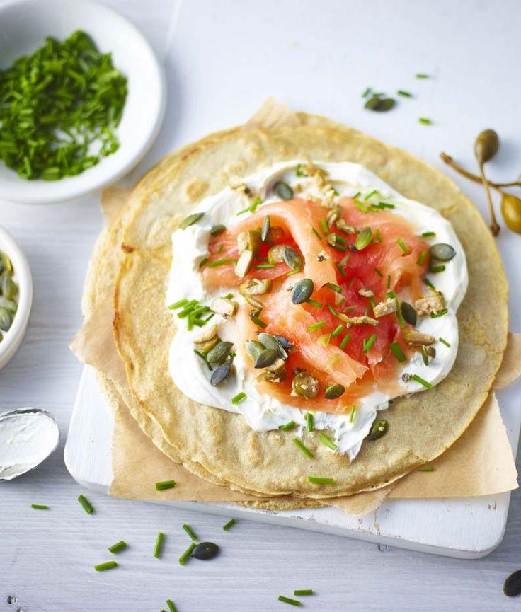 30. Buckwheat Pancakes with Smoked Salmon and Citrus Cream Cheese