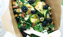 Griddled courgette, blackberry and feta salad