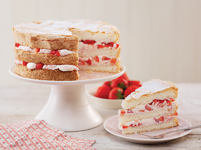 Gluten-free strawberry layer cake