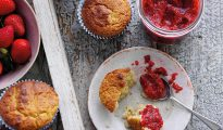 Strawberry chia jam and almond muffins