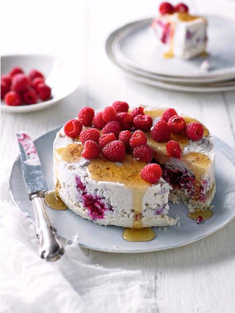 Healthy Raspberry & Cauliflower Cheesecake