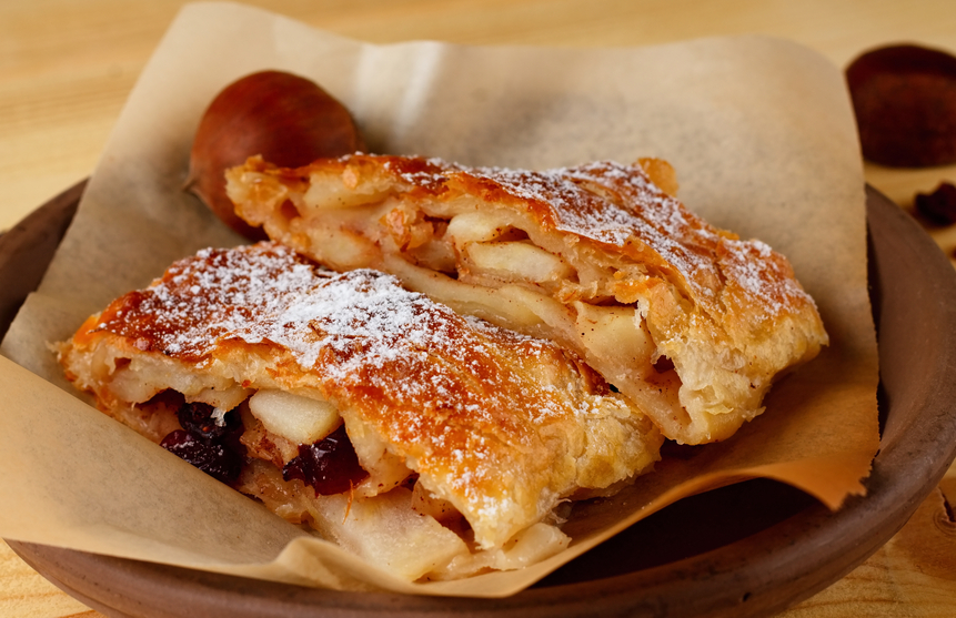 Fresh apple strudel with nice crust