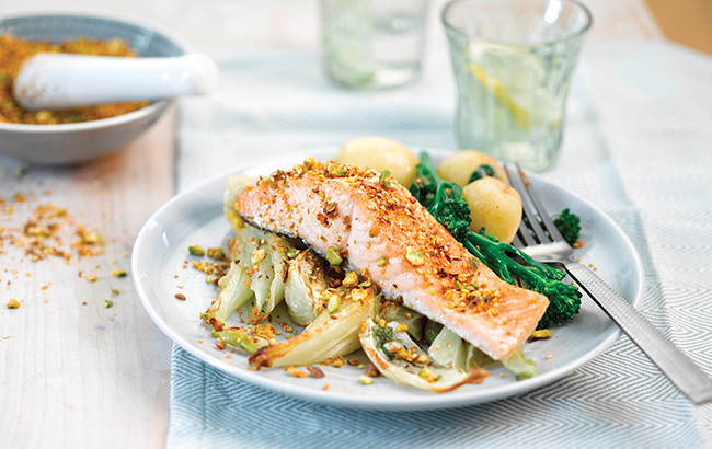 Roast salmon with fennel & pistachio dukkha