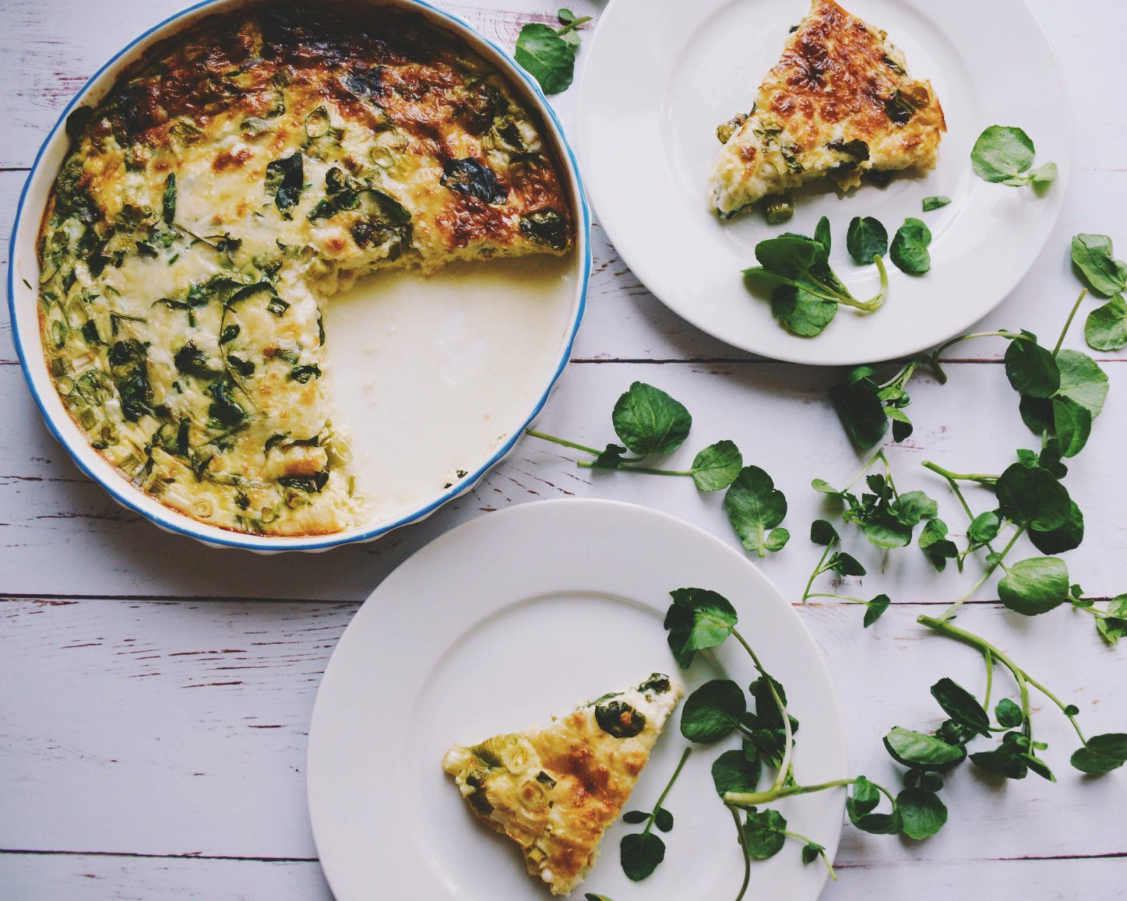 Goat's cheese, spring onion & watercress crustless quiche
