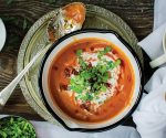 Roasted Romano pepper & chorizo soup