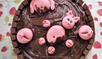 Gluten-free chocolate pig cake