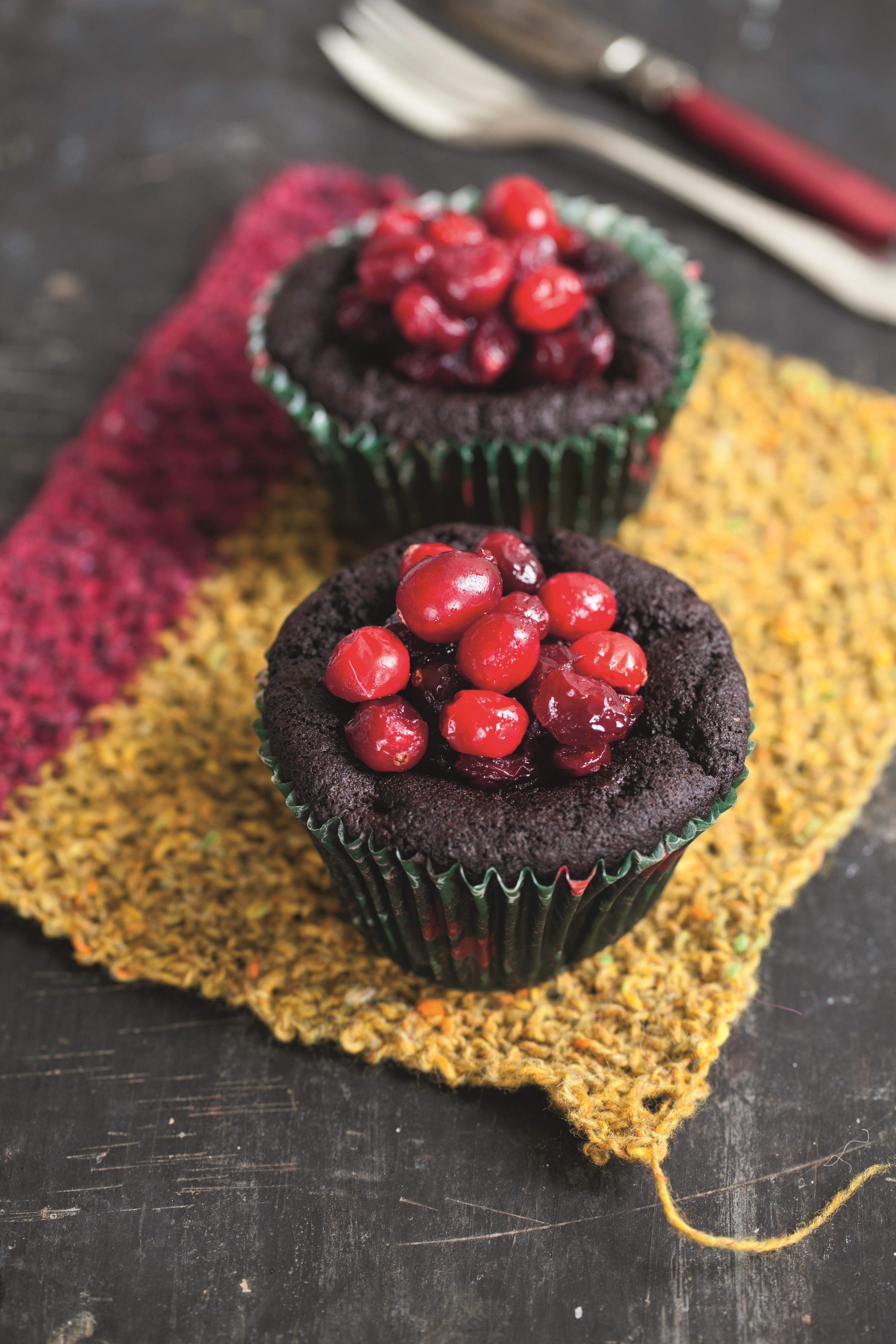 Chocolate, Aubergine & Cranberry Cakes - (Gluten-Free/Dairy-Free)