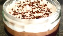 Vegan chocolate cherry trifle