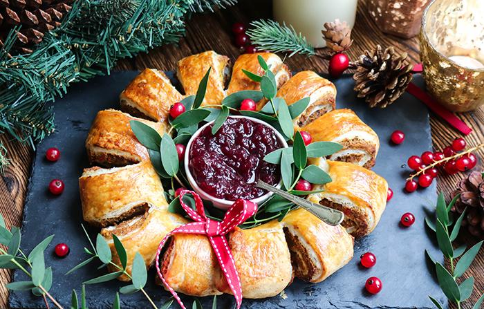 Dairy and Gluten-Free Butternut Squash & Mushroom Christmas Wreath