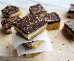 Vegan and gluten-free caramel squares