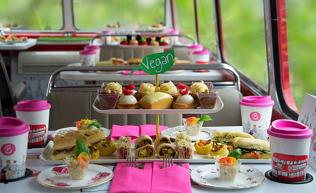 vegan afternoon tea tour bus
