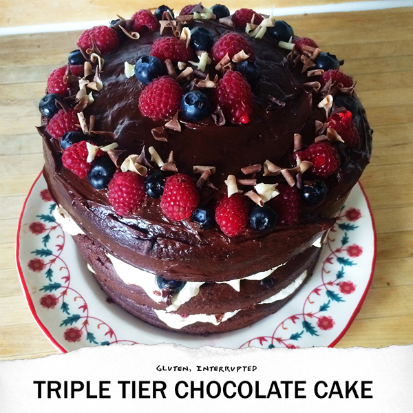 GF triple tier chocolate cake