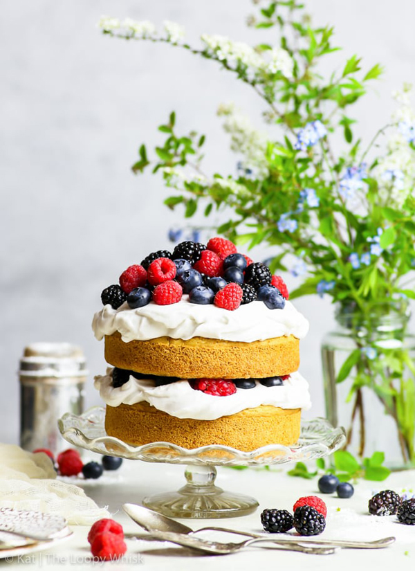 GF Vegan Vanilla cake with berries