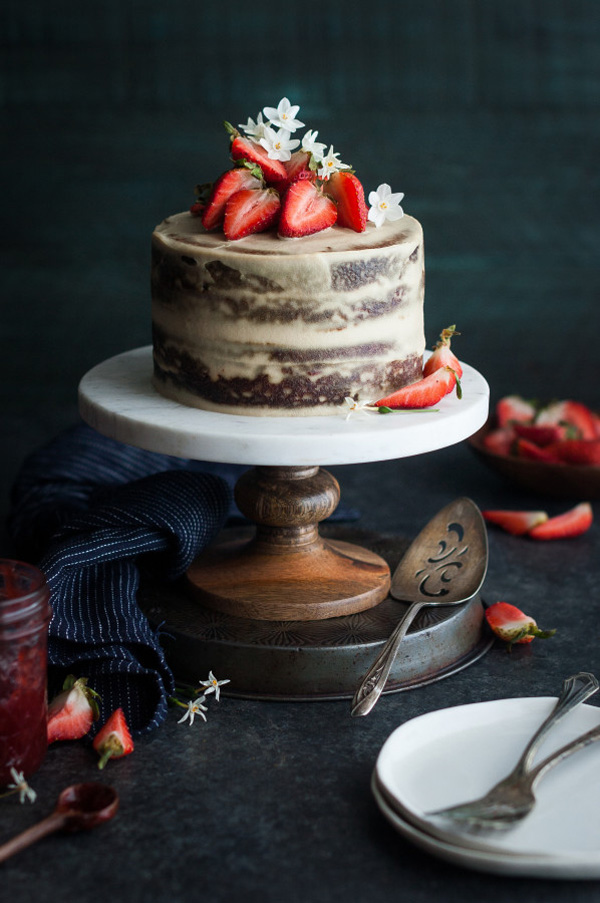 Strawberry Vanilla Almond Cream Cake