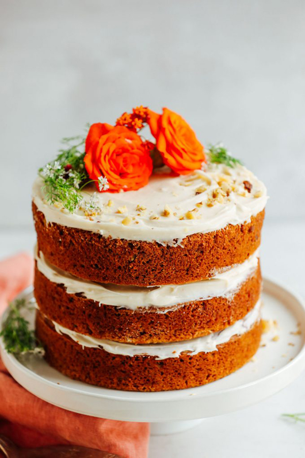 Vegan GF Carrot Cake with rose on top