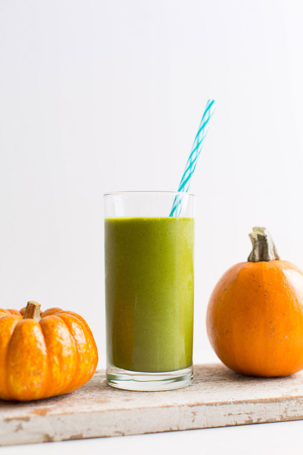 green gluten-free pumpkin smoothie