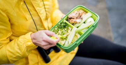 Eating healthy food outdoors