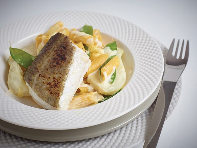 Cod and fennel creamy multigrain penne