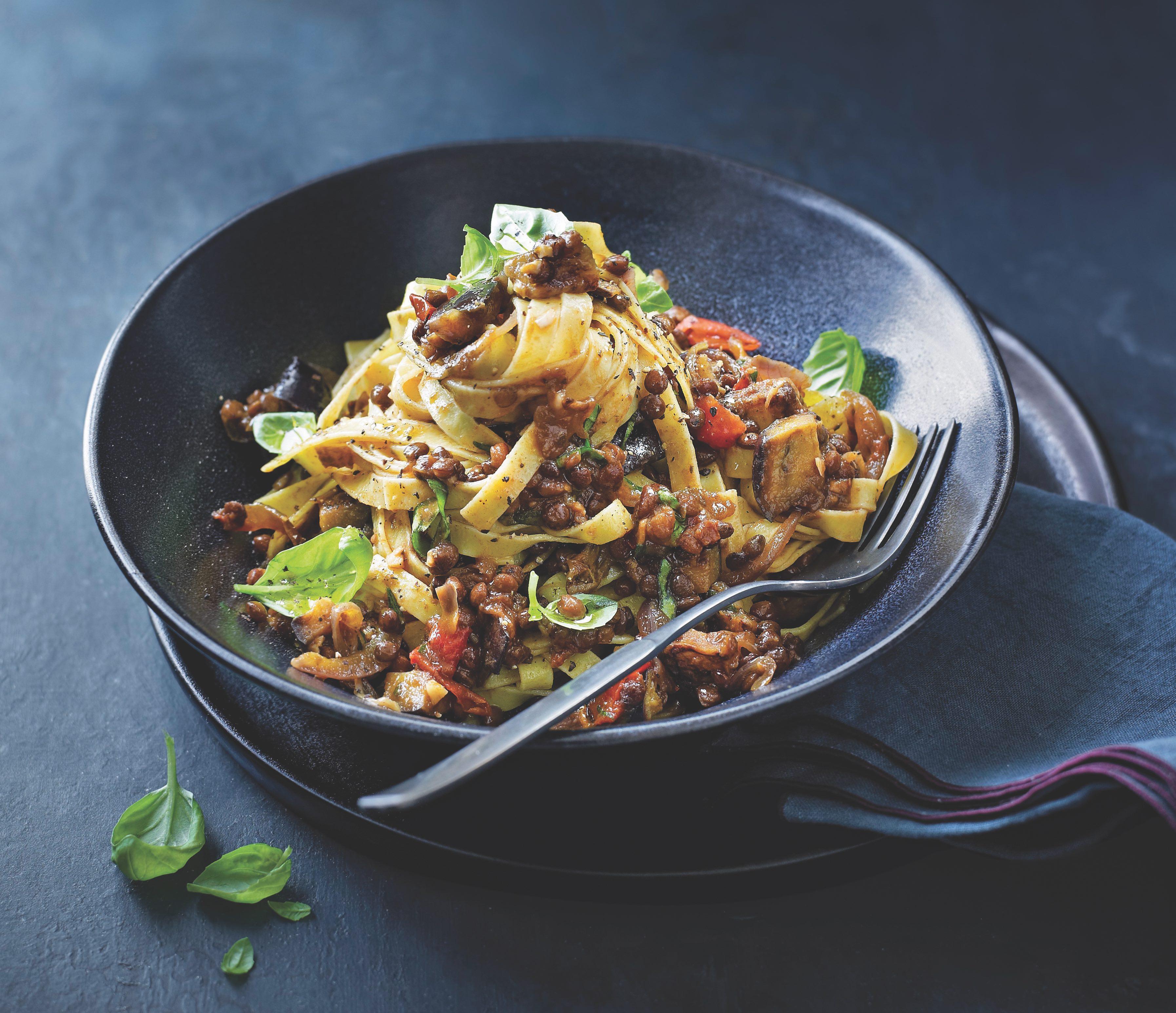 Lentil & aubergine ragu recipe
