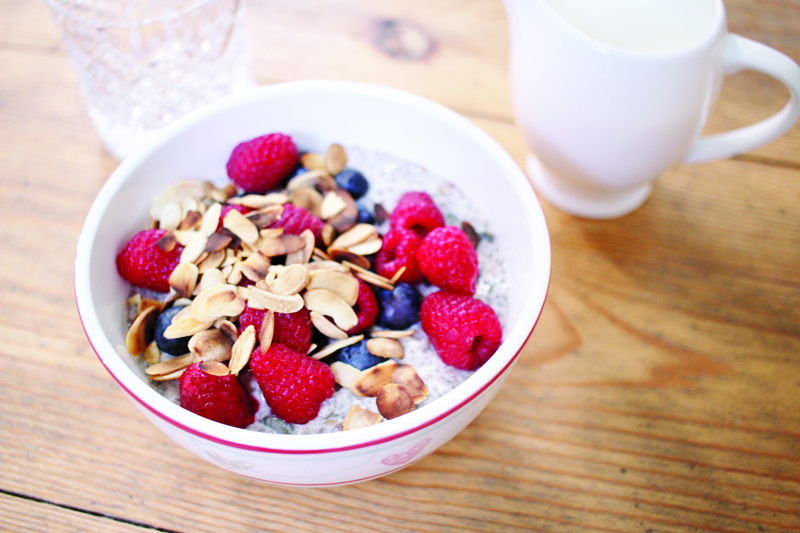 Chia seeds with berries & toasted almonds