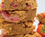 Peanut butter strawberry blondies