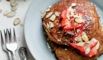 Strawberry banana oat pancakes