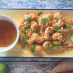 Gluten-free crispy coconut prawns