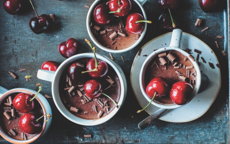 Cherry chocolate ganache espresso pots