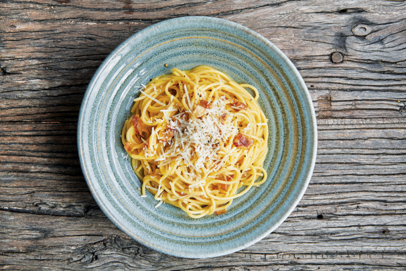 Gluten-free spaghetti carbonara
