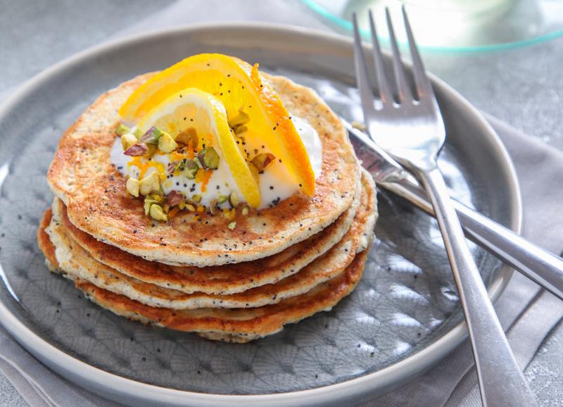 Orange and lemon poppy seed pancakes