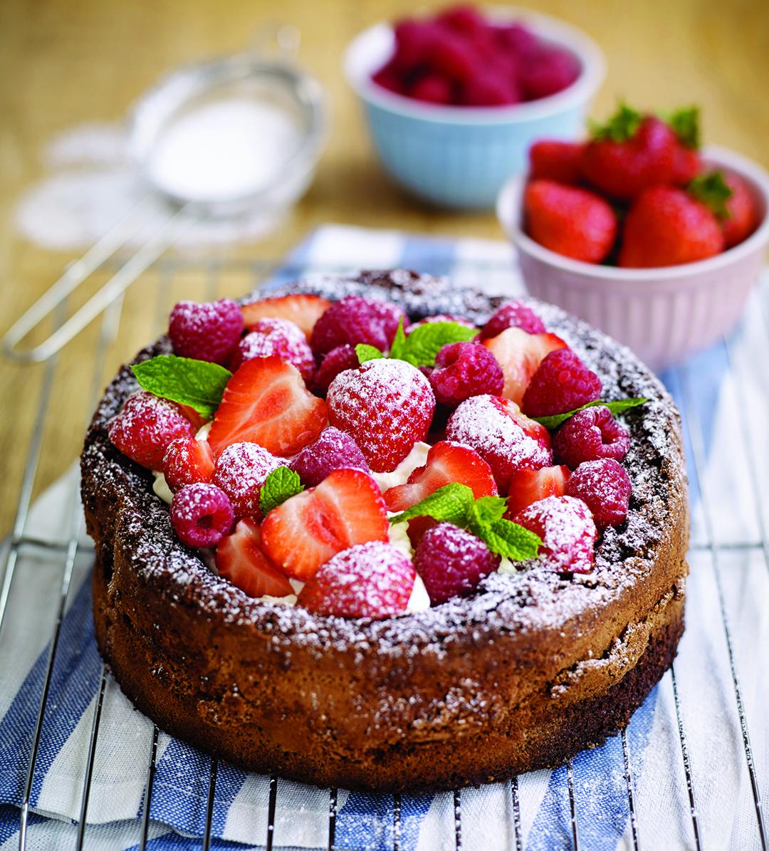 Gluten-free chocolate cake with berries