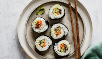 Rainbow vegan sushi