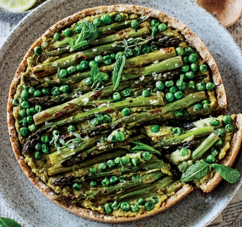 Vegan gluten-free pea and asparagus tart