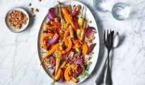 Roasted vegetables with walnuts and herbs