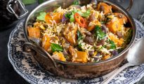 Spinach, Sweet Potato and South African Raisin Biriyani