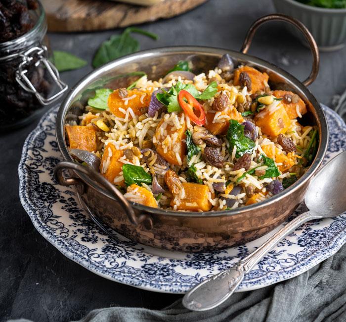 Spinach, Sweet Potato and South African Raisin Biriyani
