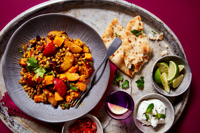 Roasted South African Plum, Pumpkin and Lentil Korma