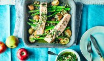 Roast Salmon Fillets with Braeburn Apple Salsa Verde