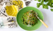 Super Quick Buckwheat Noodles with a Creamy Green Pea & Kale Sauce