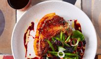 Pork Chop, Blackberries and Summer Beans