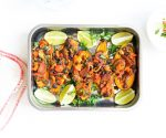 Baked Sweet Potatoes topped with a Chorizo, Black Beans, Lime, Coriander & Basil Dressing